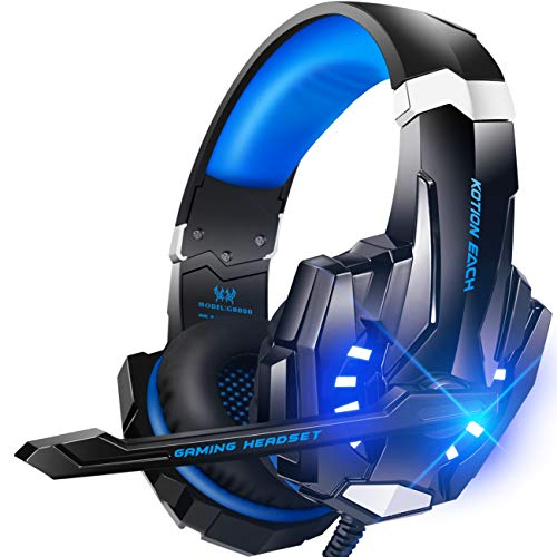 BENGOO G9000 Stereo Gaming Headset for PS4, PC, Xbox One Controller, Noise Cancelling Over Ear Headphones with Mic, LED Light, Bass Surround, Soft Memory Earmuffs for Laptop Mac Nintendo Switch Games - Online Shopping