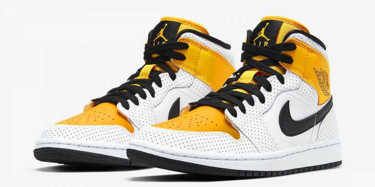 """Newness Air Jordan 1 Mid """"University Gold"""" Perforated Leather Sneakers BQ6472-107"""