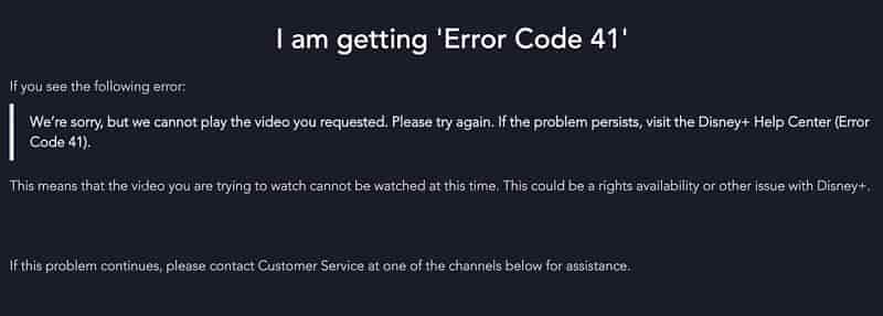 Fix Diseny Plus Error Code 41 : Cannot Play The Request Video Fixed