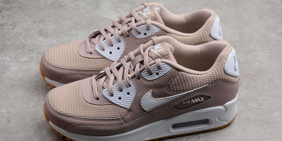 Worthly Nike Air Max 90 Essential Diffused Taupe/White-Gum Girls Size